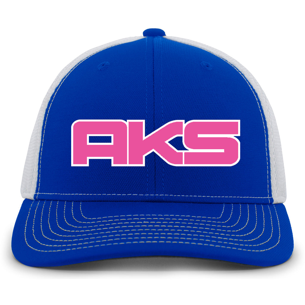 AkS Big Chi Snap-Back Trucker Hat in Royal & White with Pink & White