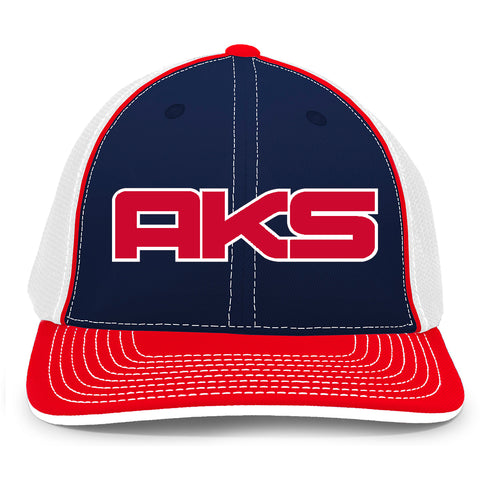 AkS Big Chi Trucker Hat in Navy & White & Red with Red & White