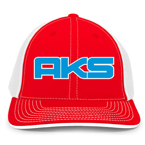 AkS Big Chi Trucker Hat in Red & White with Royal & White
