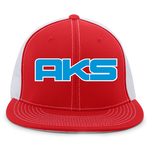 AkS Big Chi Flatbill Trucker Hat in Red & White with Royal
