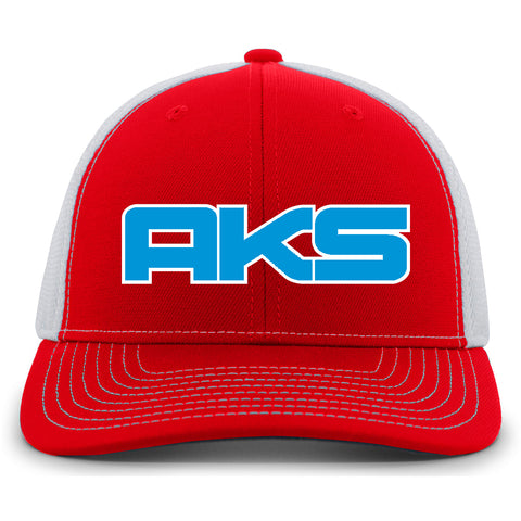 AkS Big Chi Snap-Back Trucker Hat in Red & White with Royal & White