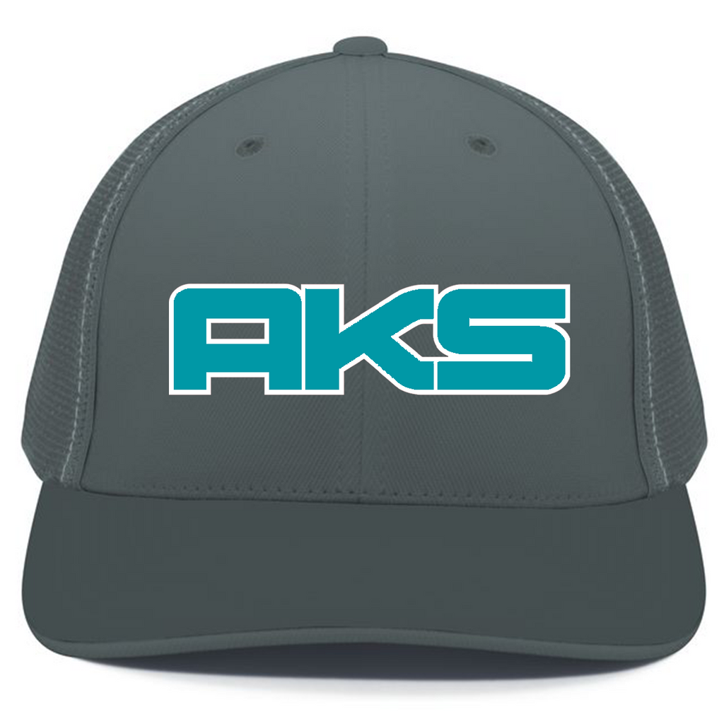 AkS Big Chi Trucker Hat in Graphite with Teal & White