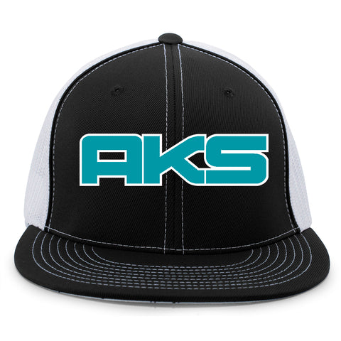 AkS Big Chi Flatbill Trucker Hat in Black & White with Teal