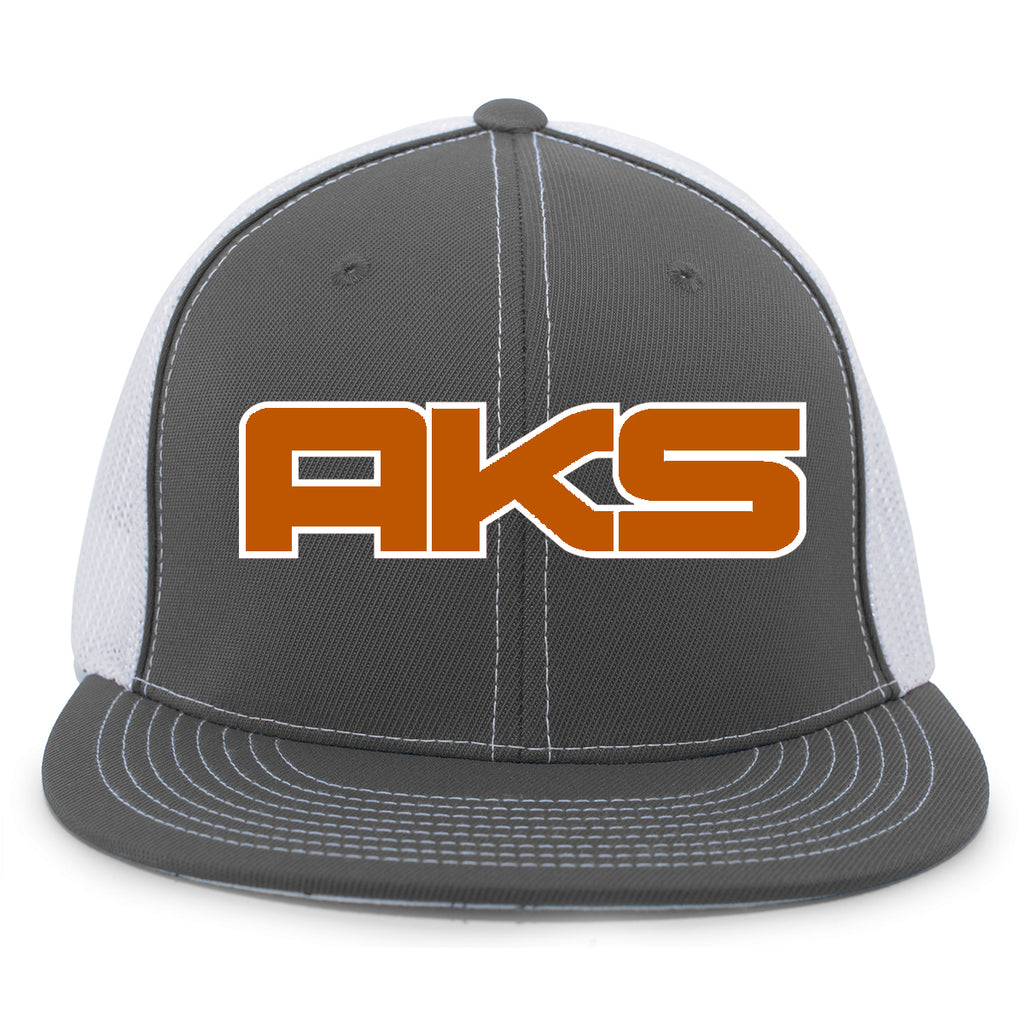 AkS Big Chi Flatbill Trucker Hat in Graphite & White with Texas Orange