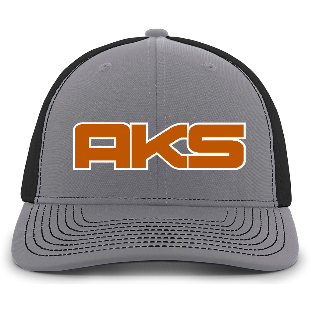 AkS Big Chi Snap-Back Trucker Hat in Graphite & Black with Texas Orange & White