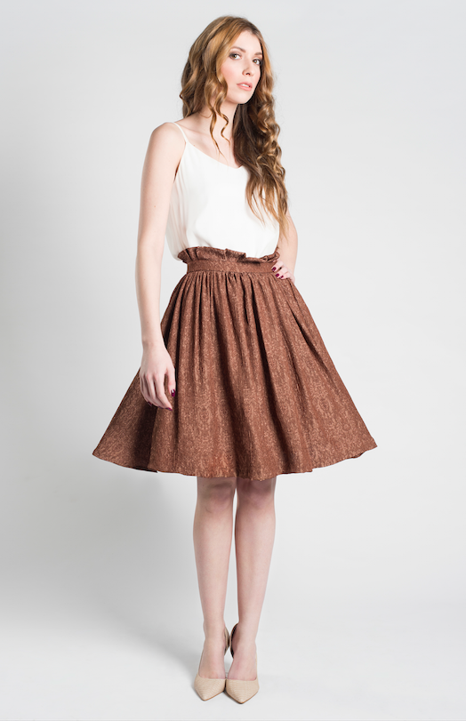 Jacquard High Waisted Full Skirt