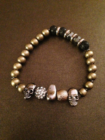 Metal Stone and Crystal Beads with Metal Skull Bracelet