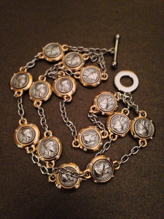 Gold Plated Three Layer Coin Bracelet