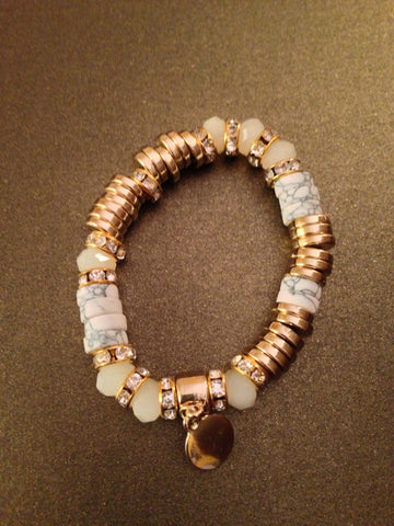Crystal Rondelle Accents Stretch Bracelet (Ivory and Gold)