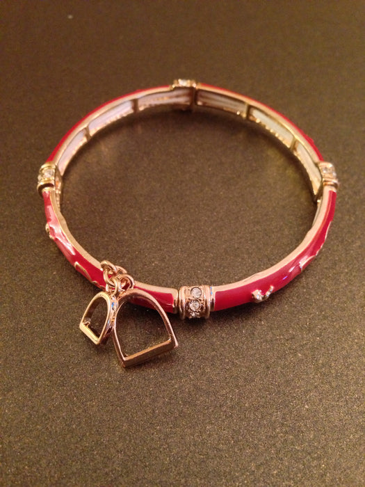 Enamel Stretch Bracelet With Horse Stirrup Charms