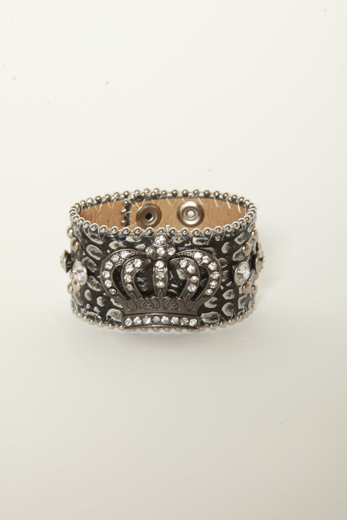 Leather Rhinestone Bracelets (Silver with Crown)