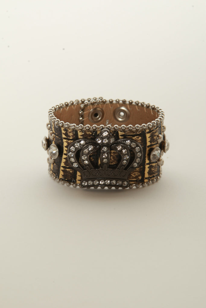 Leather Rhinestone Bracelets (Gold with Crown)