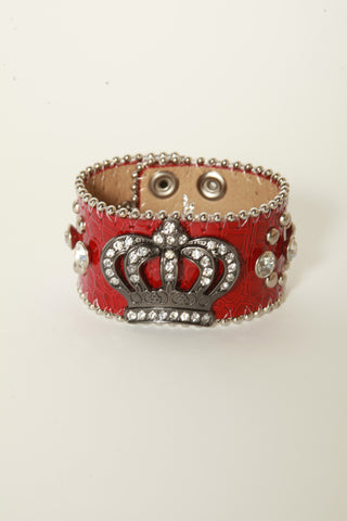 Leather Rhinestone Bracelets (Red with Crown)
