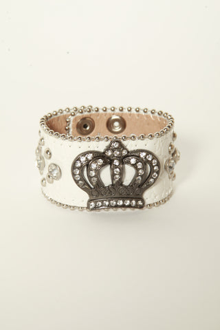 Leather Rhinestone Bracelets (White with Cross)