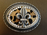Oval Rhinestone Fleur De Lis with Leather inlay buckle in Leopard
