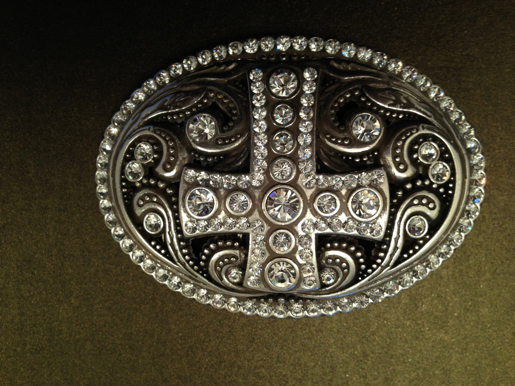 Rhinestone Cross Oval Buckle