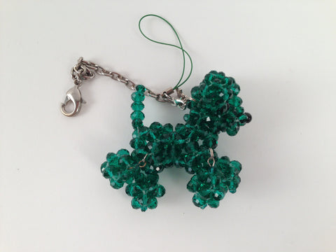 Green Crystal Beaded Dog Keychain