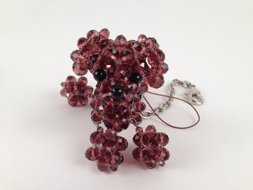 Plum Crystal Beaded Dog Keychain