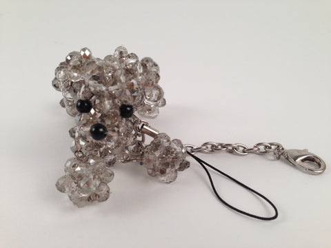 Grey Crystal Beaded Dog Keychain