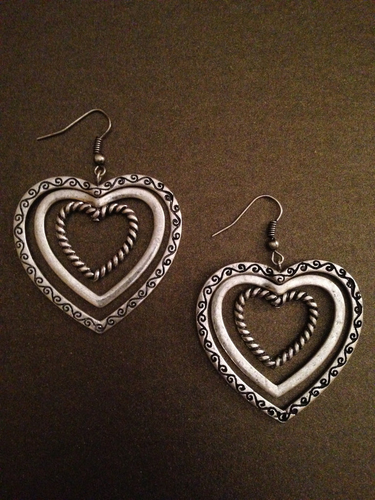 Triple Heart Dangle Earrings