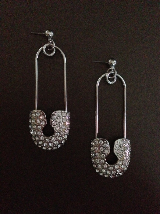 Crystal Safety Pin Dangle Earring