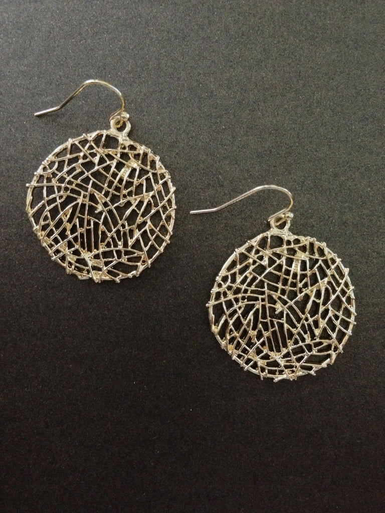 Metal Filigree Disk Earring