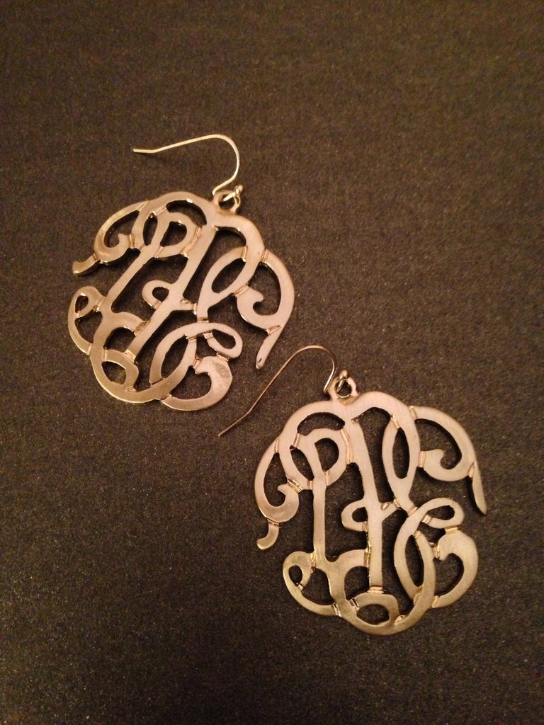 Metal Cursive LBE Monogram Dangle Earring