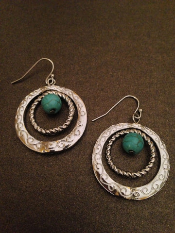 Semi Precious Stone Dangle Hoop Earring