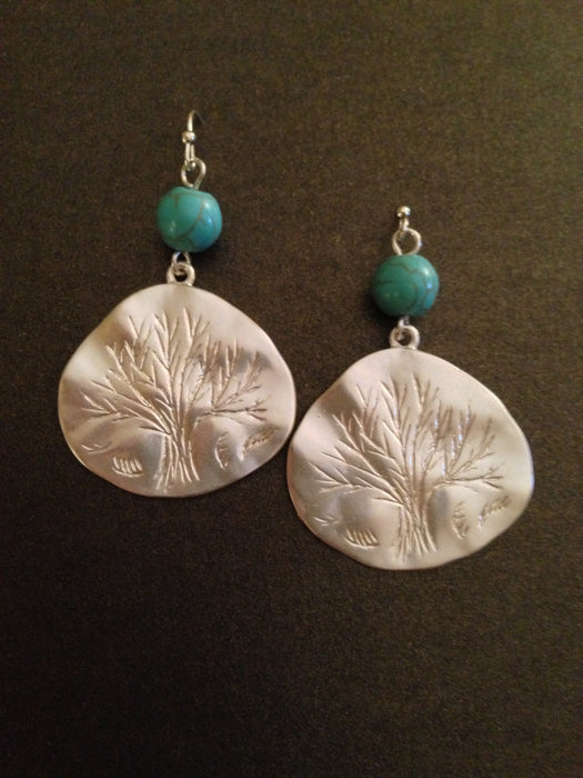 Textured Tree of Life and Semi Precious Stone Earring