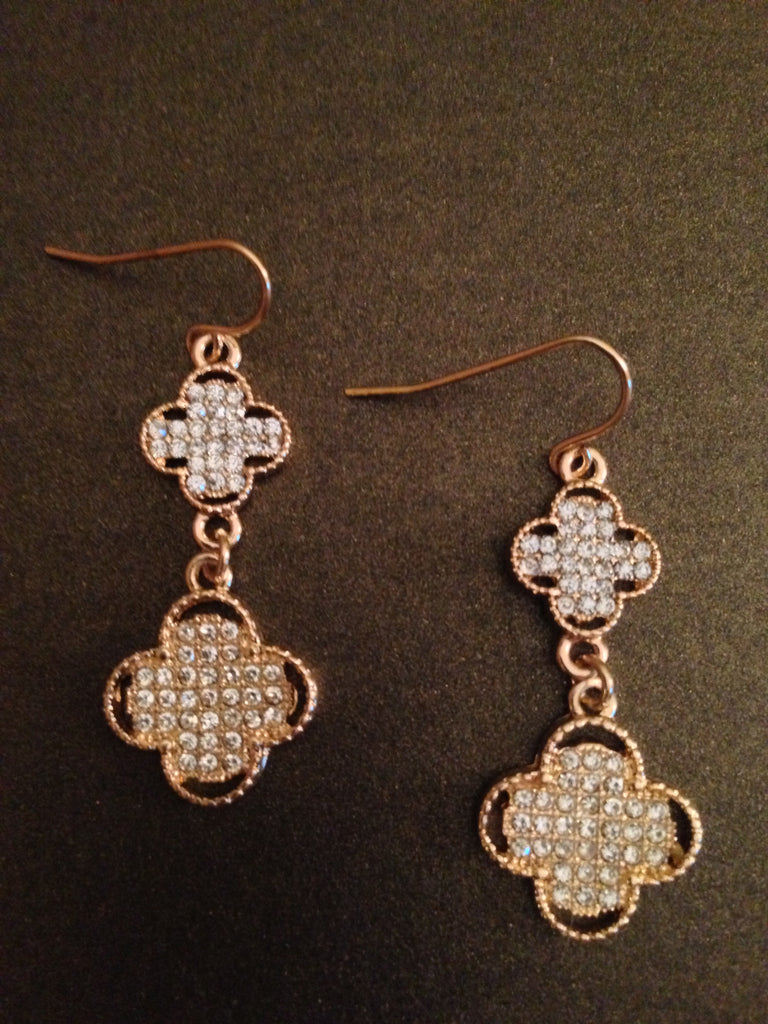 Crystal Clover Two Drop Earring