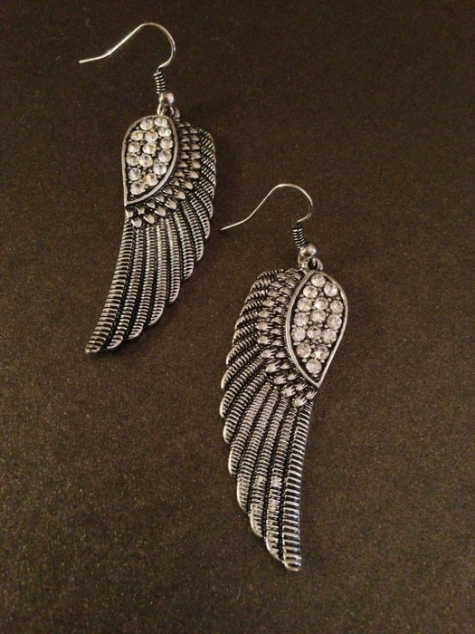 Crystal Angel Wing Earring  (Silver)