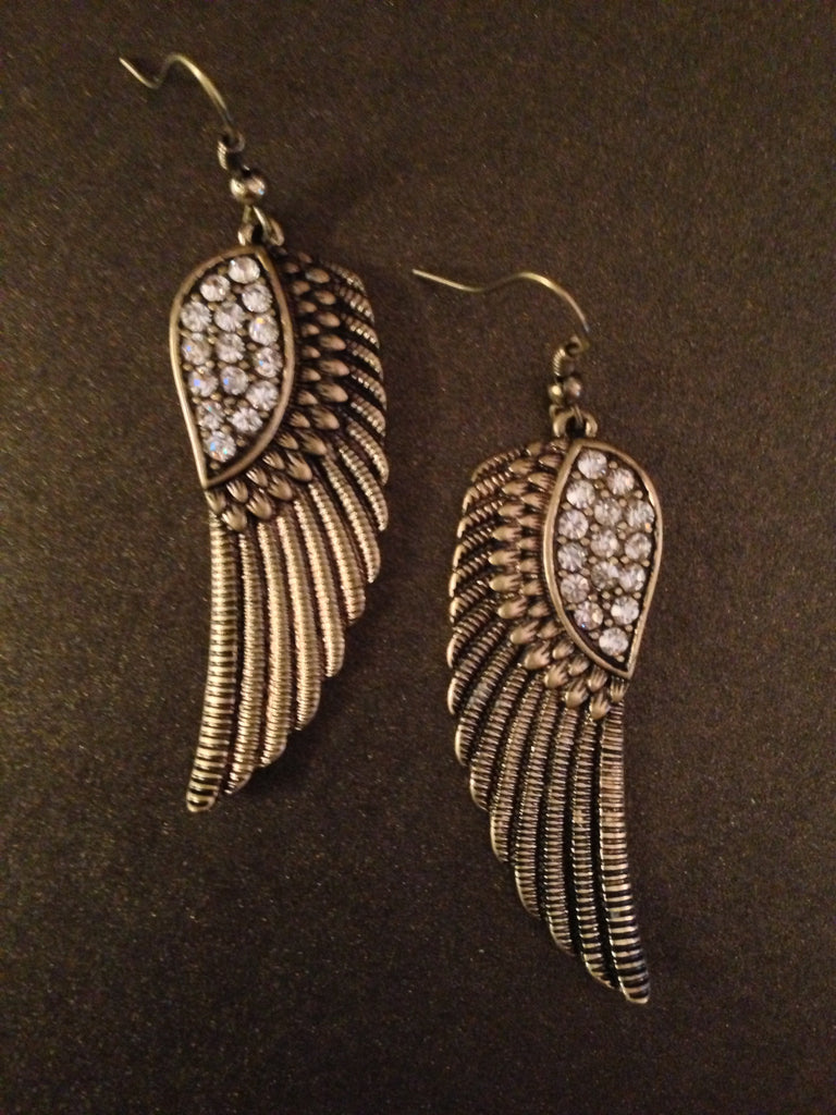 Crystal Angel Wing Earring  (gold and crystals)