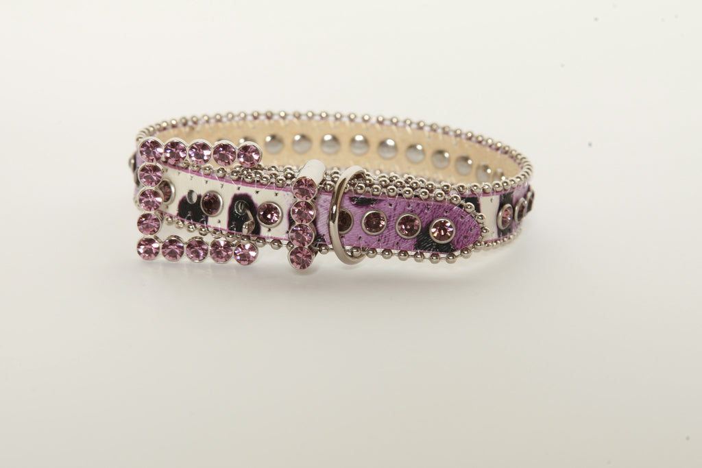 Purple Animal Print Rhinestone Dog Collar