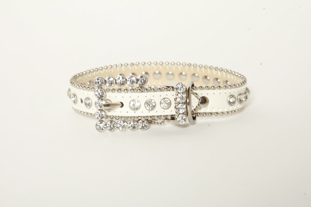 White Rhinestone Dog Collar