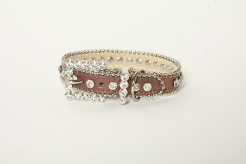 Brown Rhinestone Dog Collar