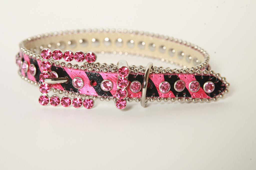 Pink Animal Print Rhinestone Dog Collar