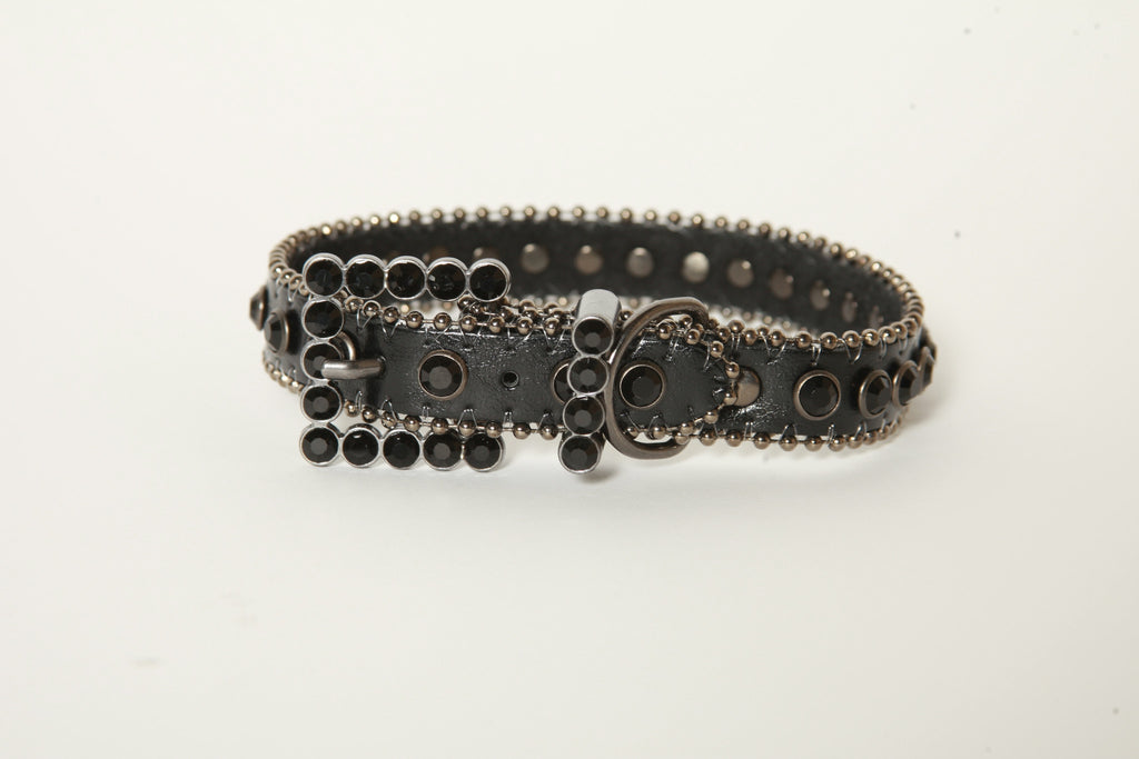 Black on Black Rhinestone Dog Collar