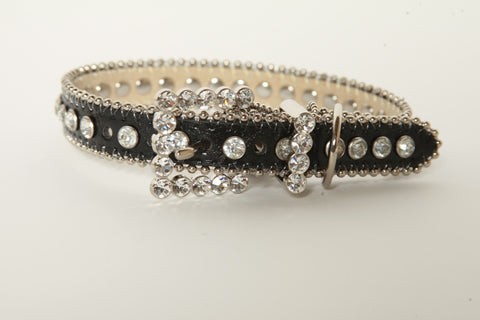 Black w/ Clear Rhinestone Dog Collar