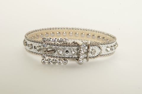 Silver Rhinestone Dog Collar
