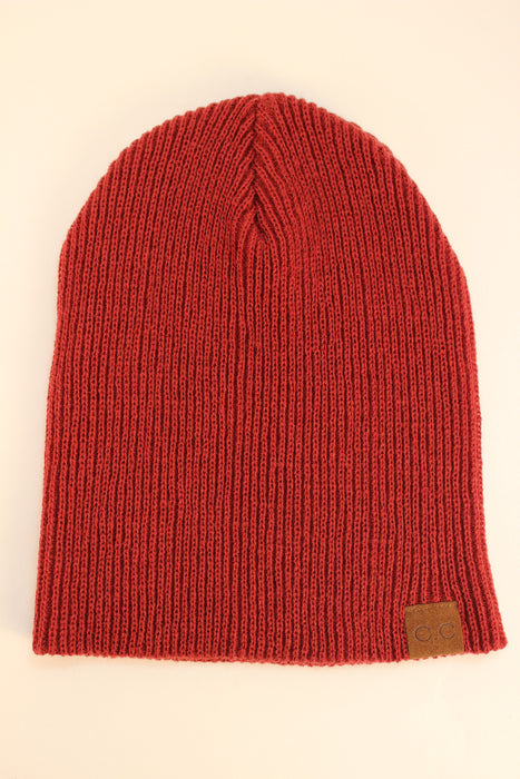 Co Co Cable Knit Beanie (Wine Red)