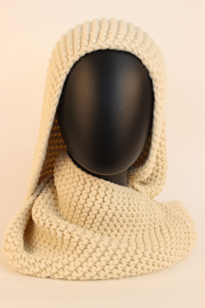 Knit Infinity Scarf Cowl Neck Warmer (Cream)