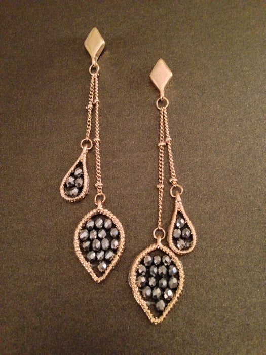 Teardrop Two Dangle Bead Earring