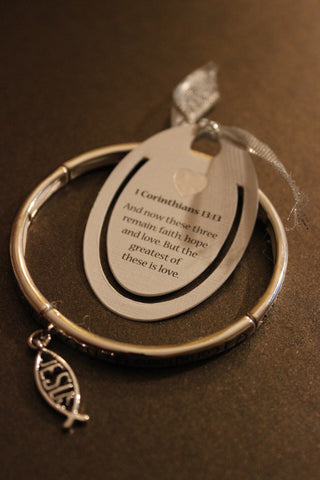 1 Corinthians 13:13 Textured Stretch Bracelet