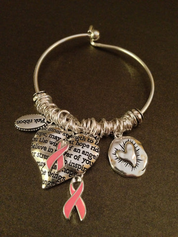 Cure Breast Cancer Textured Charm Bracelet