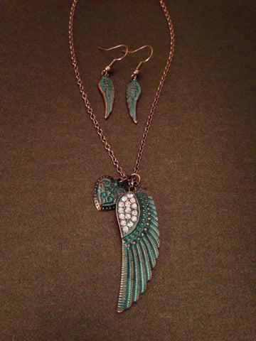 Crystal Feather Pendant Necklace Set (Patina Turquoise)