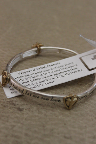 """Prayer of Saint Francis"" Textured Cross Stretch Bracelet and Bookmark"