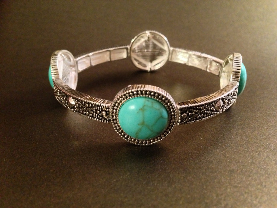 Semi precious stone circle stretch bracelet