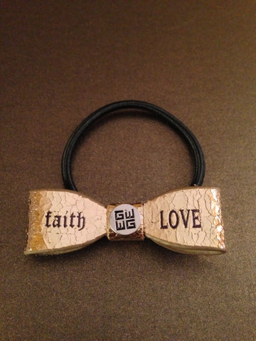 """Faith - Hope"" Leather Hair Bow Tie"