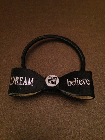 """Dream - Believe"" Leather Hair Bow Tie"