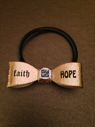"""Faith - Love"" Leather Hair Bow Tie"